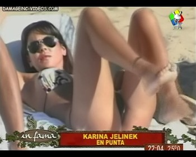Karina Jelinek shows her crotch