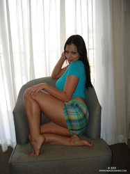 Aria Giovanni - Blue Tee with Plaid Shorts